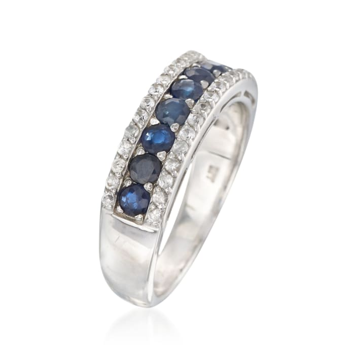 1.00 ct. t.w. Sapphire and .30 ct. t.w. White Zircon Ring in Sterling Silver