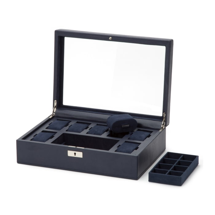 """Wolf """"Howard"""" Navy Leather Watch Box"""