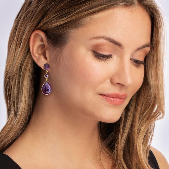 24.50 ct. t.w. Amethyst Drop Earrings in 18kt Gold Over Sterling