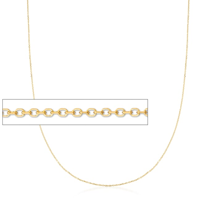 0.8mm 14kt Yellow Gold Cable Chain Necklace