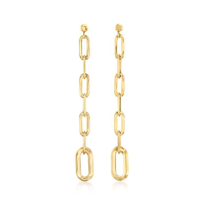 Italian 14kt Yellow Gold Paper Clip Drop Earrings