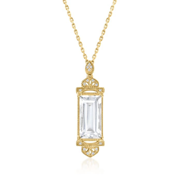 Rock Crystal Pendant Necklace with Diamond Accents in Two-Tone Sterling Silver