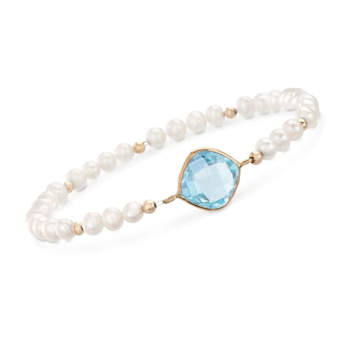 4.60 Carat Sky Blue Topaz and 4-5mm Cultured Pearl Bracelet in 14kt Yellow Gold