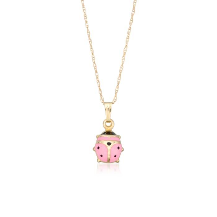 Child's Pink Enamel Ladybug Pendant Necklace in 14kt Yellow Gold