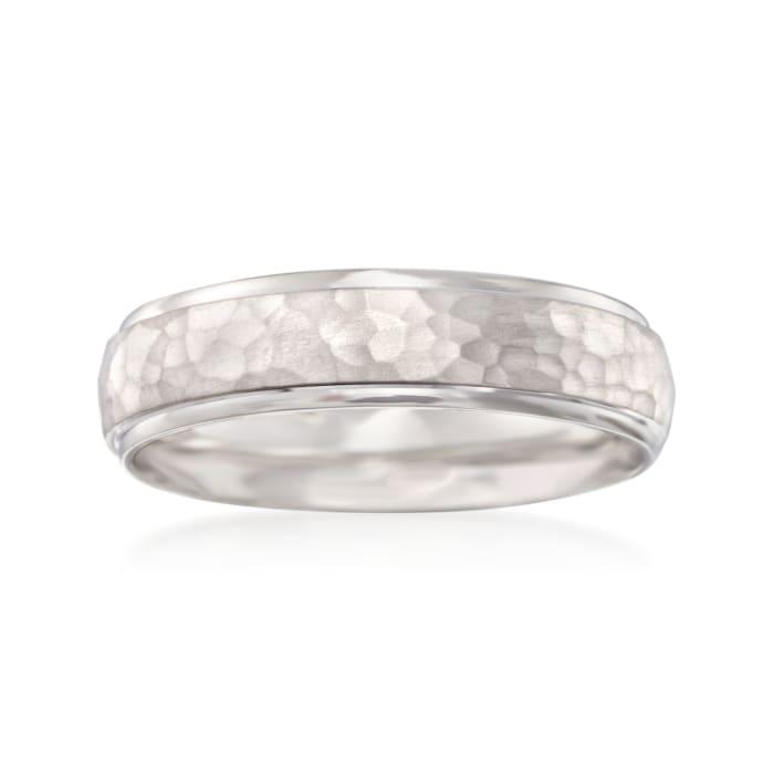 Men's 6mm 14kt White Gold Hammered Wedding Ring