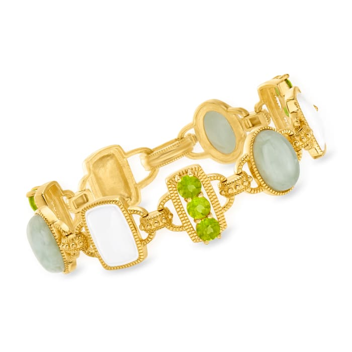 Jade, 4.00 ct. t.w. Peridot and White Enamel Link Bracelet in 18kt Gold Over Sterling