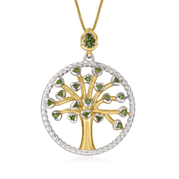 .25 ct. t.w. Green Diamond Tree of Life Pendant Necklace in 18kt Gold Over Sterling