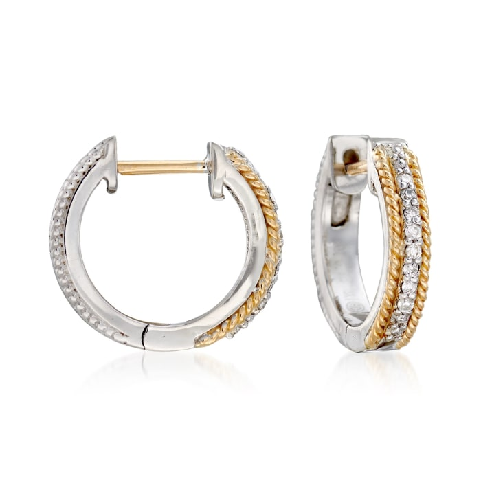 "Andrea Candela ""Mantilla"" Sterling Silver and 18kt Yellow Gold Huggie Hoop Earrings with Diamond Accents"