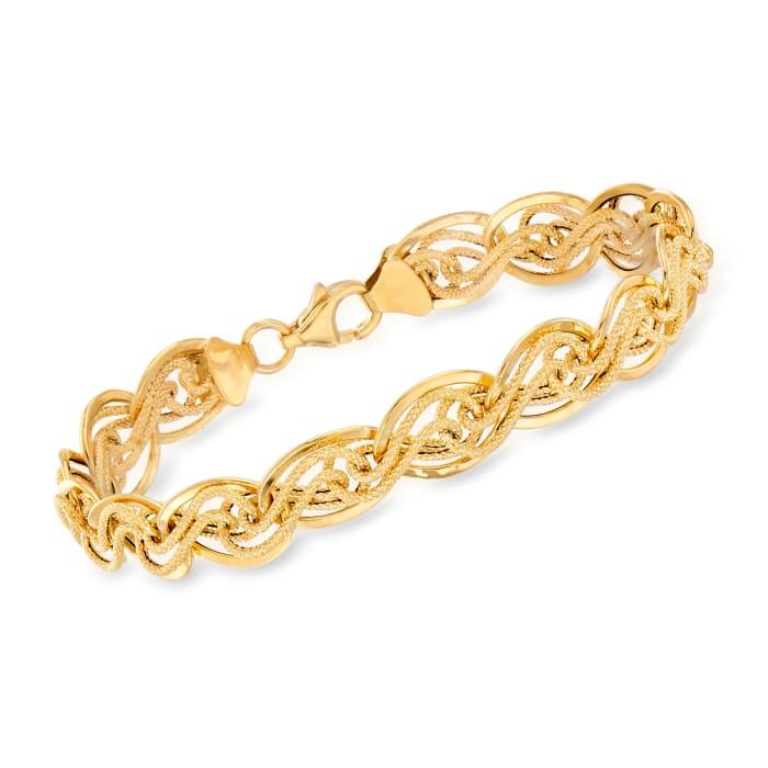 Italian 14kt Yellow Gold Interlocking Link Bracelet