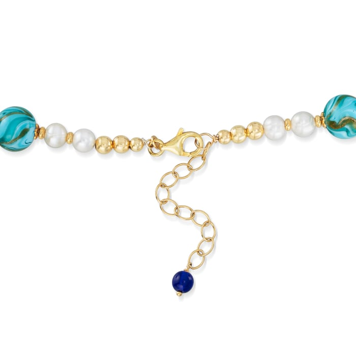 Italian Multicolored Murano Glass Bead and 6-7mm Cultured Pearl Necklace with 18kt Gold Over Sterling