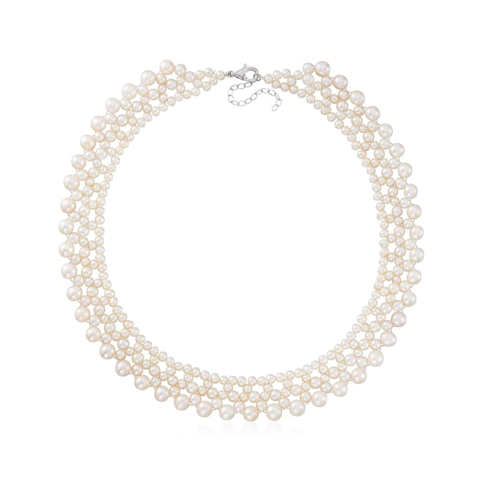 4-7mm Cultured Pearl Necklace with Sterling Silver