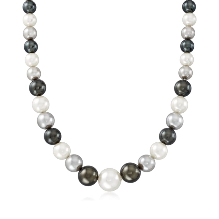 8-12mm Mother-Of-Pearl Graduated Necklace with Sterling Silver
