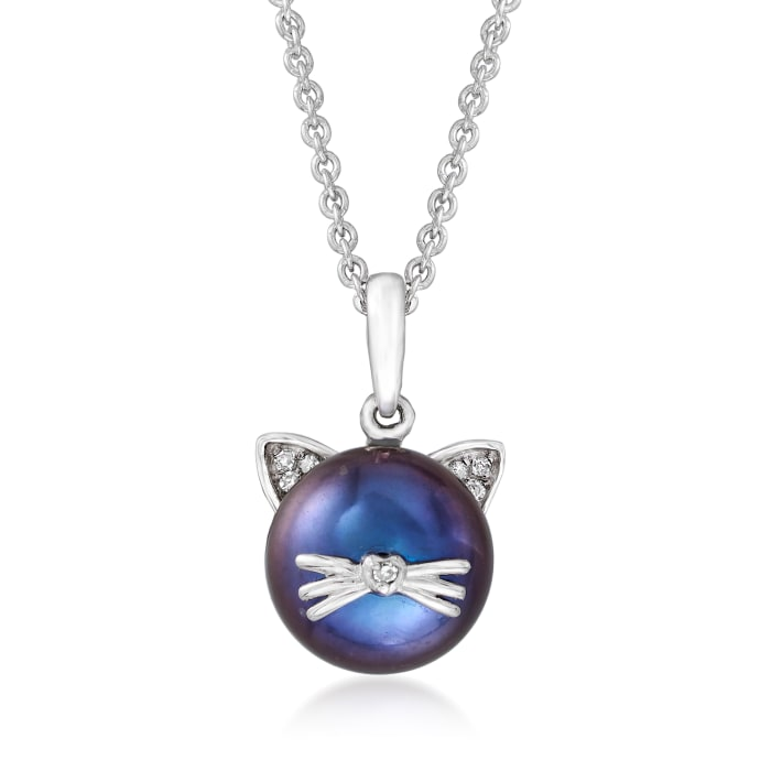 9-9.5mm Black Cultured Pearl Cat Pendant Necklace with Diamond Accents in Sterling Silver
