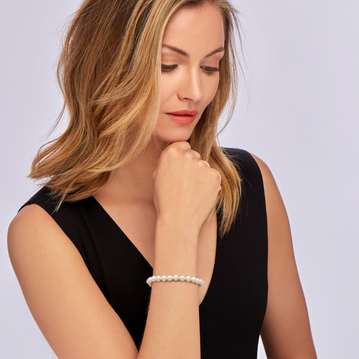 6-6.5mm Cultured Pearl Bracelet with 14kt Yellow Gold