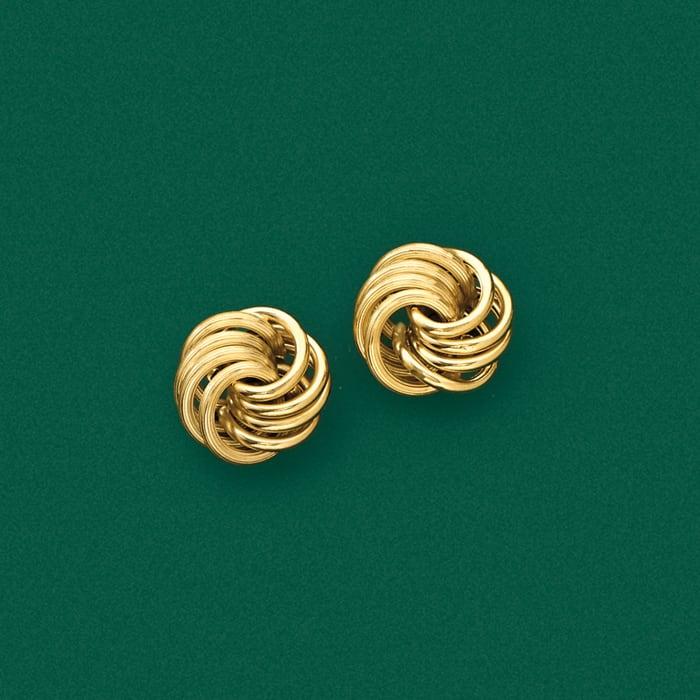 Italian 14kt Yellow Gold Open Love Knot Earrings