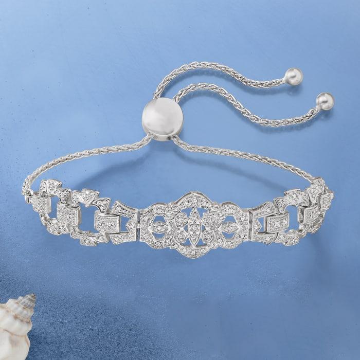 .25 ct. t.w. Diamond Openwork Bolo Bracelet in Sterling Silver