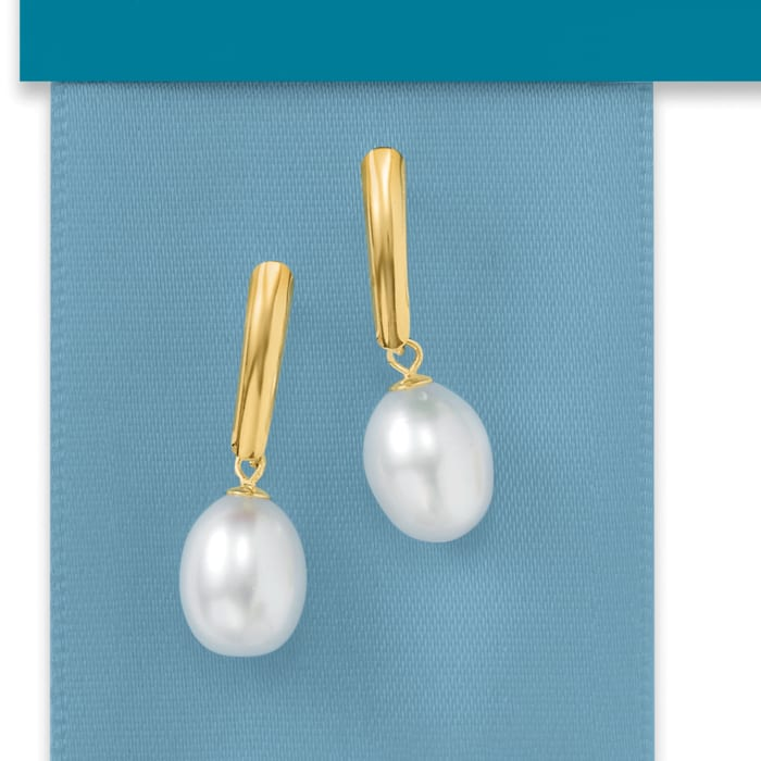 8.5-9mm Cultured Pearl Drop Earrings in 14kt Yellow Gold