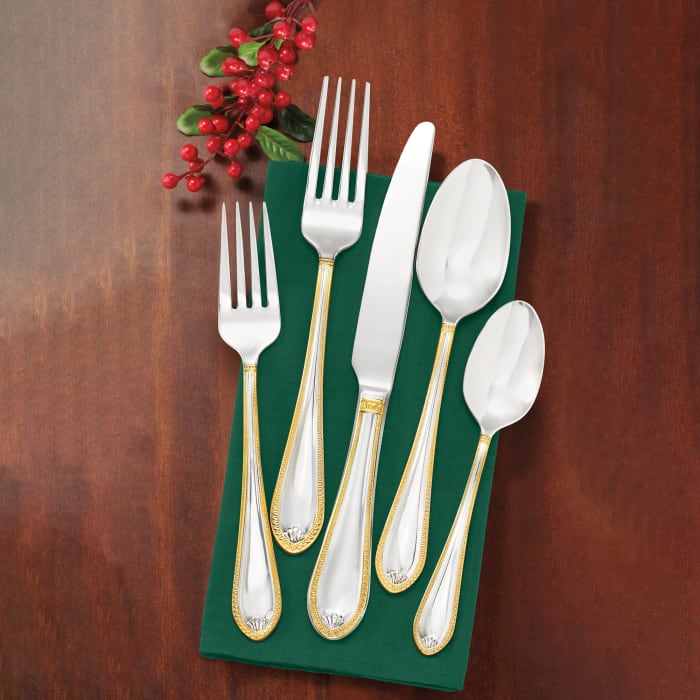 """Towle """"Sinclair Gold"""" 18/10 Stainless Steel Flatware Set with 24kt Gold Accents"""