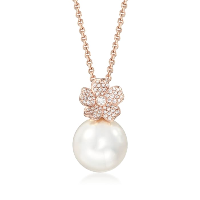 """Mikimoto """"Cherry Blossom"""" 12mm A+ South Sea Pearl and .22 ct. t.w. Diamond Floral Necklace in 18kt Rose Gold"""