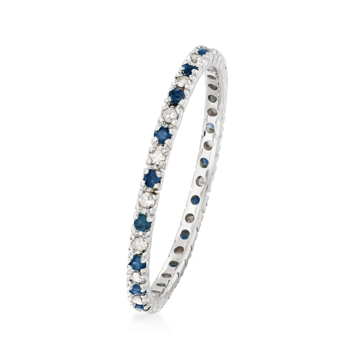 .18 ct. t.w. Sapphire and .13 ct. t.w. Diamond Eternity Band in 14kt White Gold