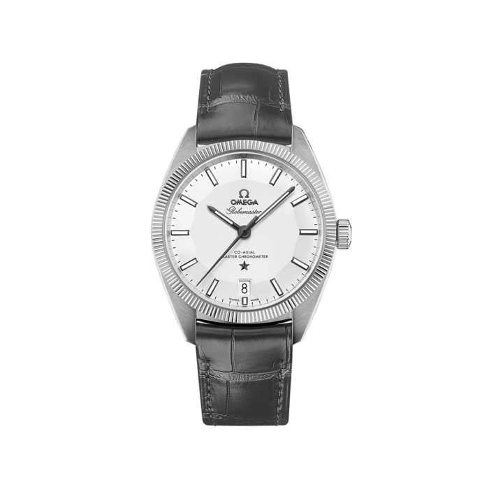 Omega Constellation Globemaster Men's 39mm Stainless Steel Watch with Gray Leather Strap