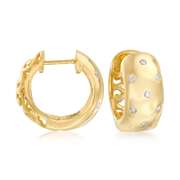 .16 ct. t.w. Burnish-Set Diamond Huggie Hoop Earrings in 14kt Gold Over Sterling