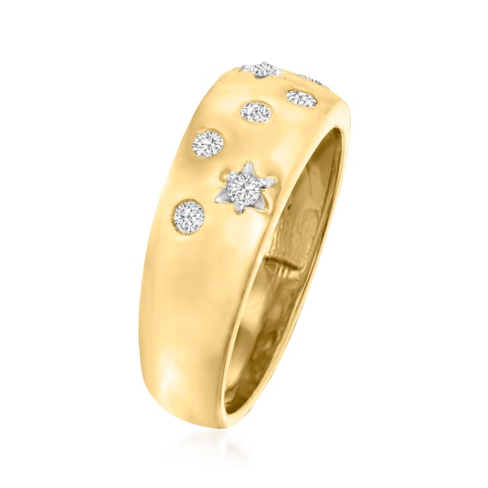 .15 ct. t.w. Diamond Star Ring in 18kt Gold Over Sterling