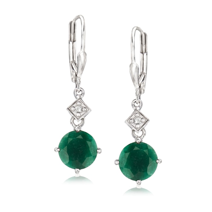 5.25 ct. t.w. Emerald Drop Earrings with Diamond Accents in Sterling Silver
