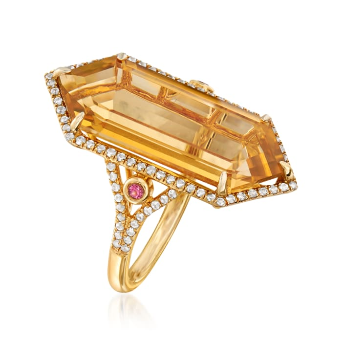 12.00 Carat Yellow Quartz and .40 ct. t.w. White Zircon Ring with Pink Tourmaline Accents in 18kt Gold Over Sterling