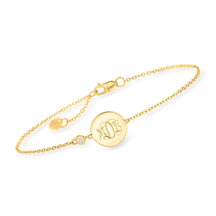 14kt Yellow Gold Monogram Oval Bracelet
