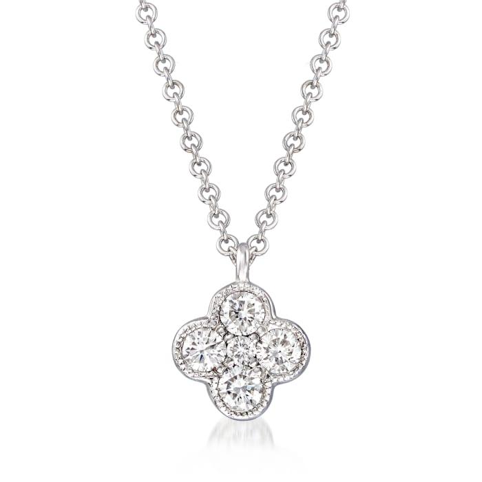 Gabriel Designs .25 ct. t.w. Diamond Cluster Pendant Necklace in 14kt White Gold