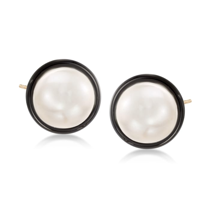 10mm Cultured Pearl and Black Onyx Earrings in 14kt Yellow Gold