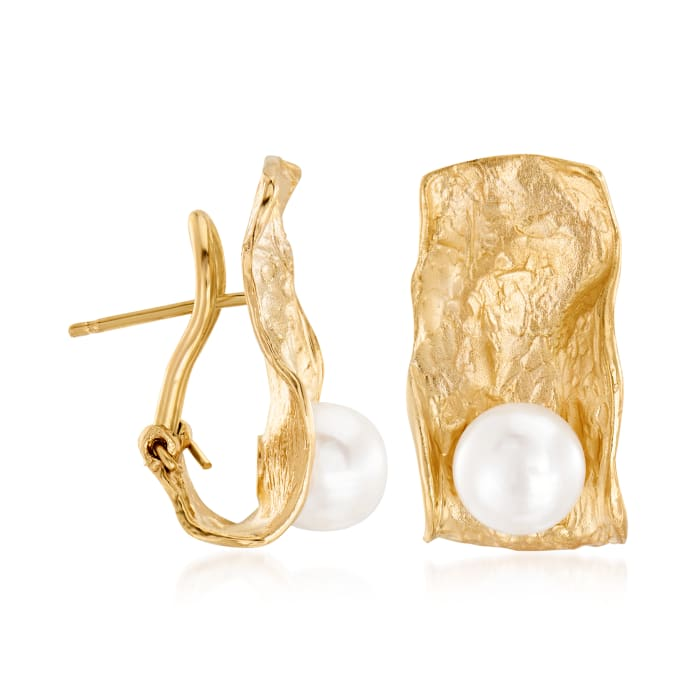 Italian 7.5-8mm Cultured Pearl Sculptural Earrings in 18kt Gold Over Sterling