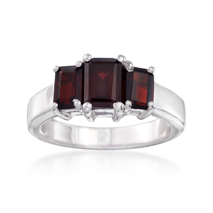 2.60 ct. t.w. Emerald-Cut Garnet Three-Stone Ring in Sterling Silver