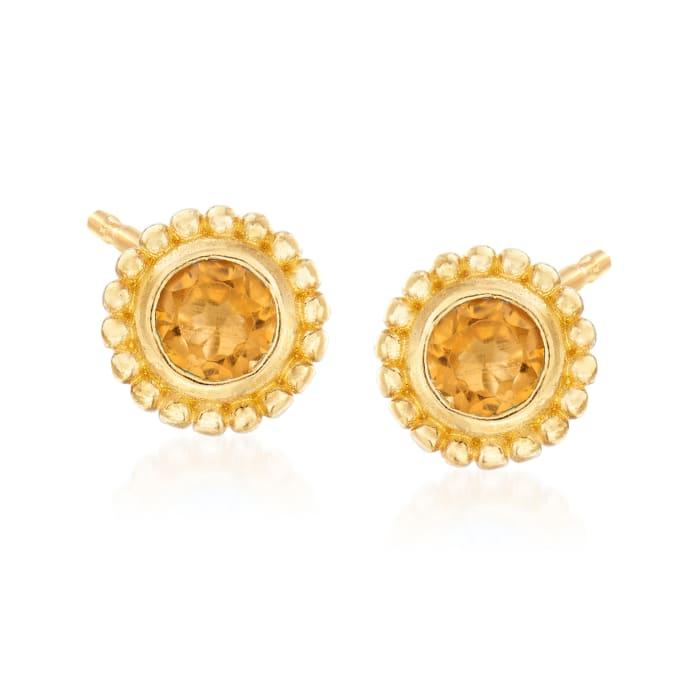"""Phillip Gavriel """"Popcorn"""" .20 ct. t.w. Citrine Stud Earrings in 14kt Yellow Gold"""