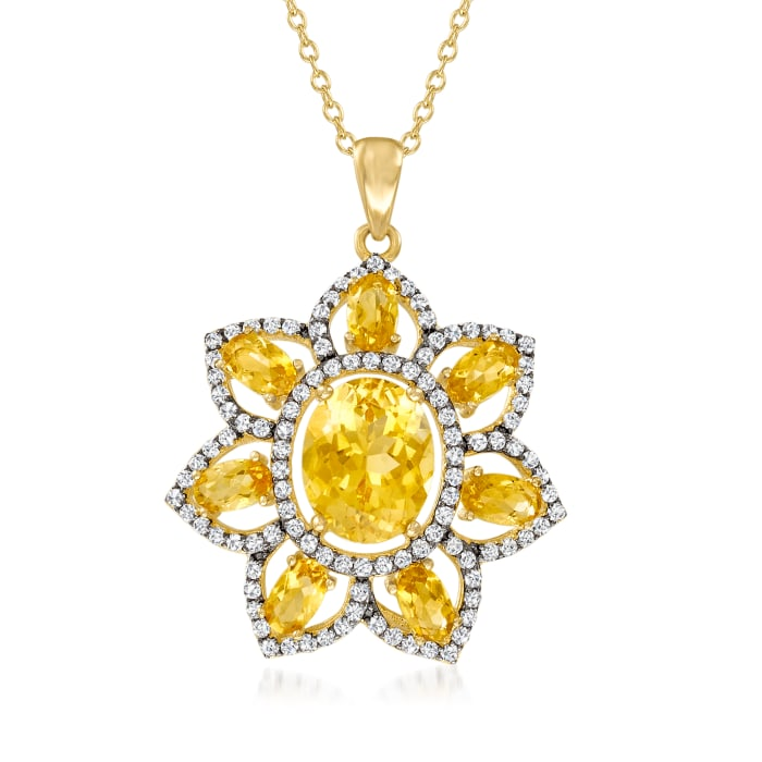4.10 ct. t.w. Citrine and .70 ct. t.w. White Topaz Flower Pendant Necklace in 18kt Gold Over Sterling