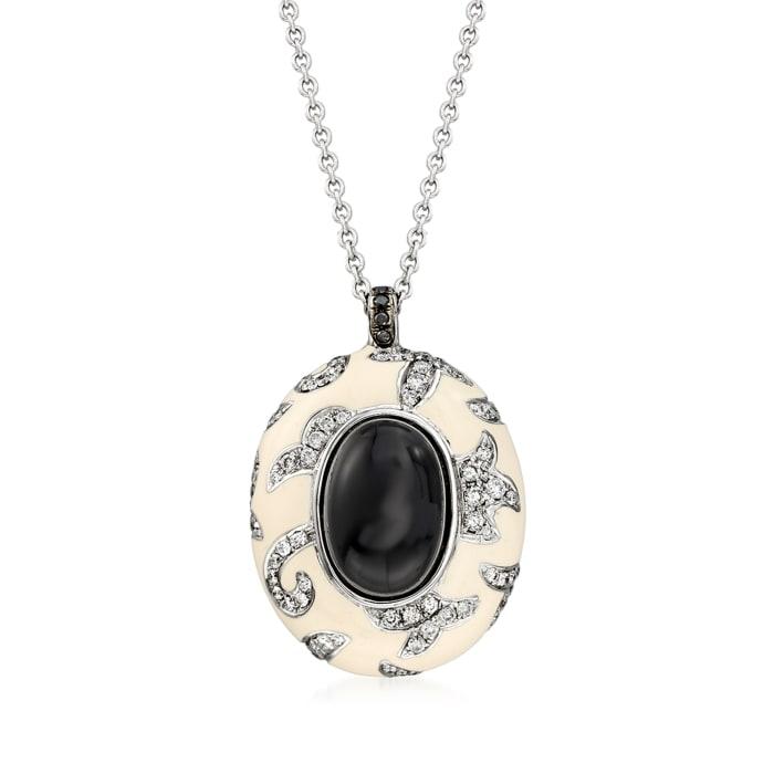C. 1990 Vintage Nouvelle Bague Black Onyx and 1.05 ct. t.w. Diamond Pendant Necklace in 18kt White Gold