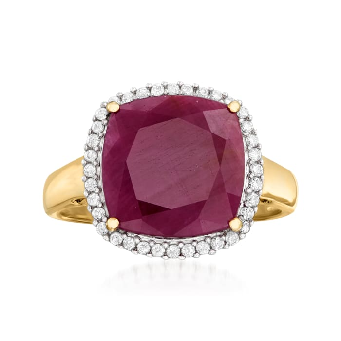 6.30 Carat Ruby and .16 ct. t.w. Diamond Ring in 14kt Yellow Gold
