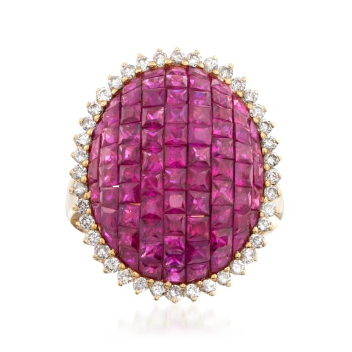 5.25 ct. t.w. Pave Ruby and .60 ct. t.w. Diamond Ring in 18kt Yellow Gold