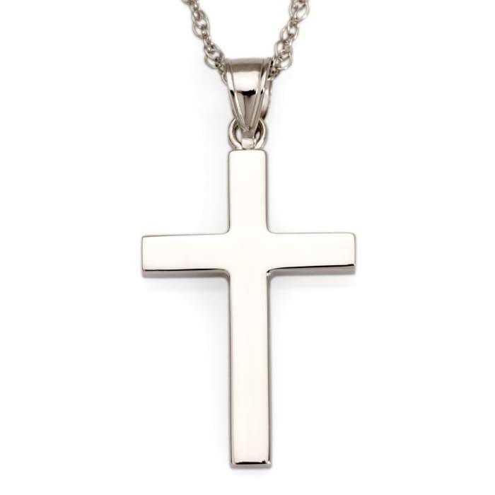 14kt White Gold Polished Cross Pendant Necklace