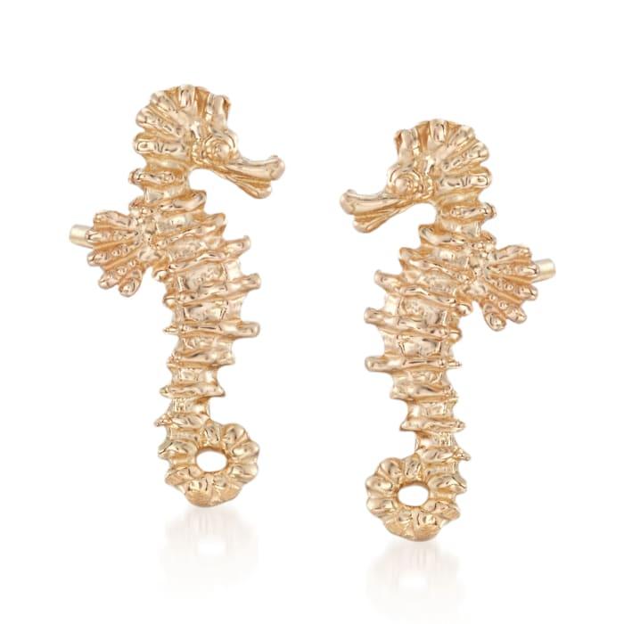 14kt Yellow Gold Mini Seahorse Stud Earrings