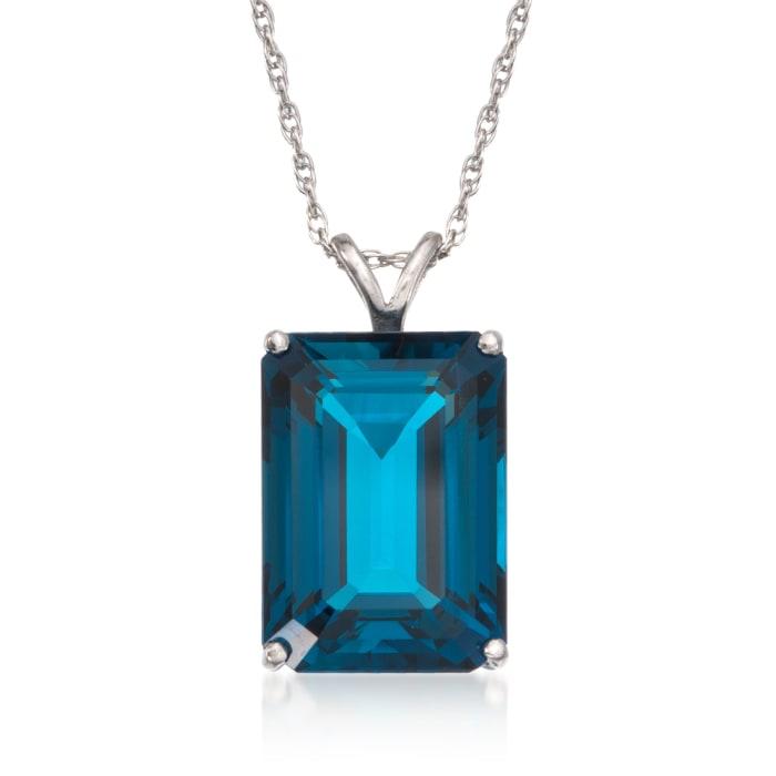14.20 Carat London Blue Topaz Pendant Necklace in Sterling Silver