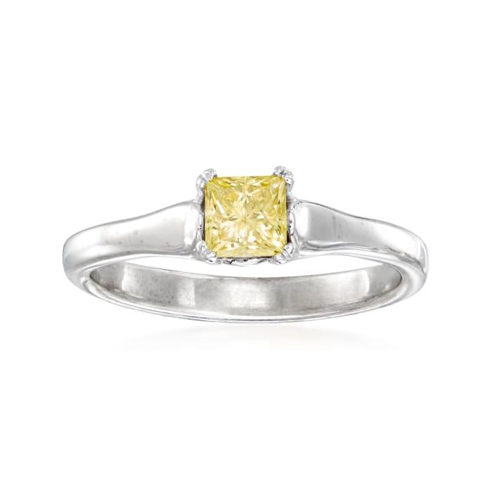 C. 2000 Vintage .50 Carat Yellow Diamond Ring in 14kt White Gold