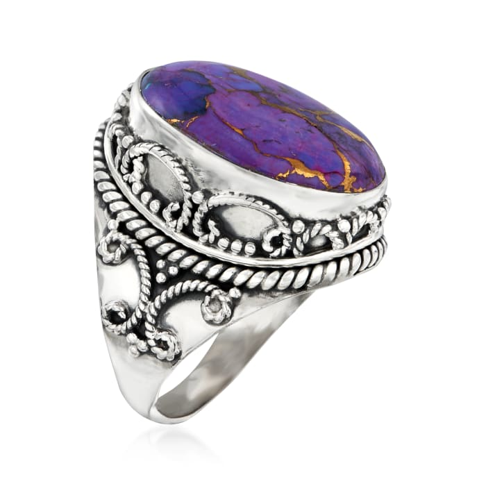 Purple Copper Turquoise Ring in Sterling Silver