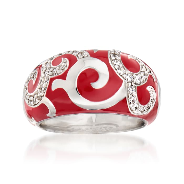 "Belle Etoile ""Royale"" Red Enamel and .20 ct. t.w. CZ Ring in Sterling Silver"