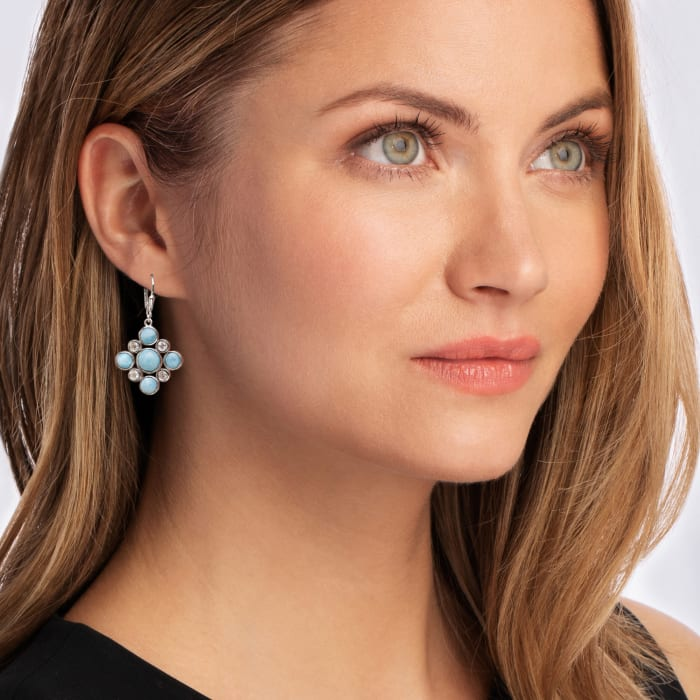 Larimar and 1.10 ct. t.w. White Topaz Drop Earrings in Sterling Silver