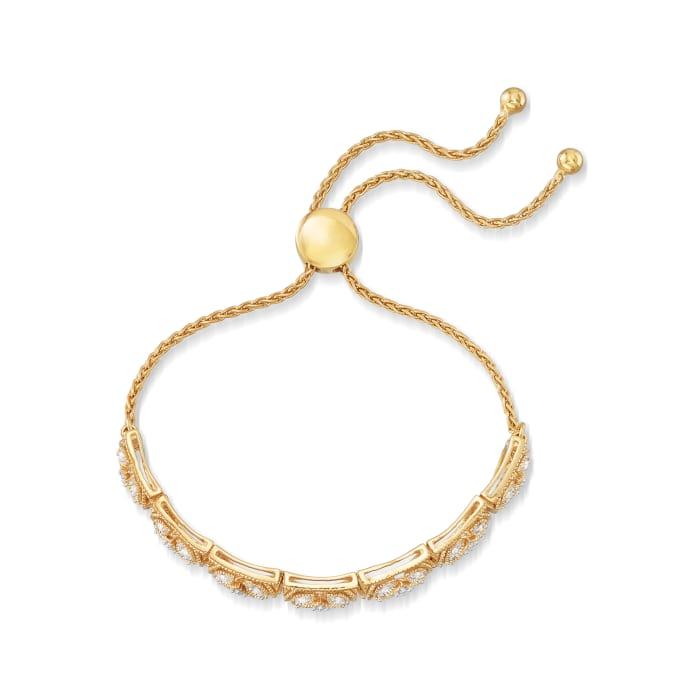 .50 ct. t.w. Diamond Openwork Bolo Bracelet in 18kt Gold Over Sterling