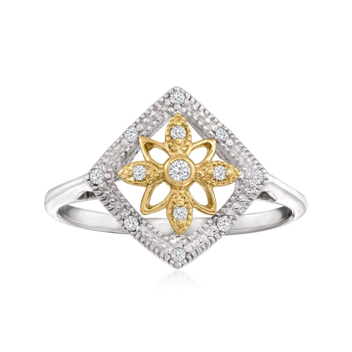 .10 ct. t.w. Diamond Floral Openwork Ring in Sterling Silver and 14kt Yellow Gold