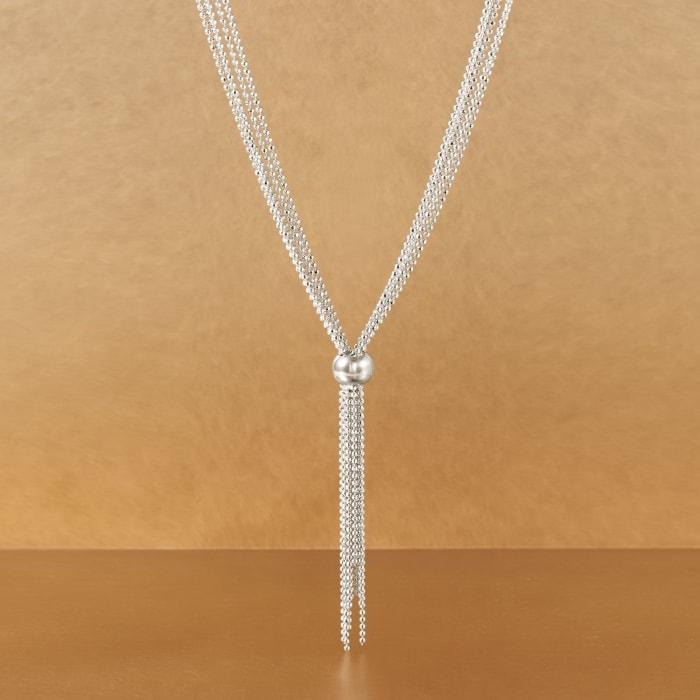 Italian Sterling Silver Bead Chain Tassel Necklace
