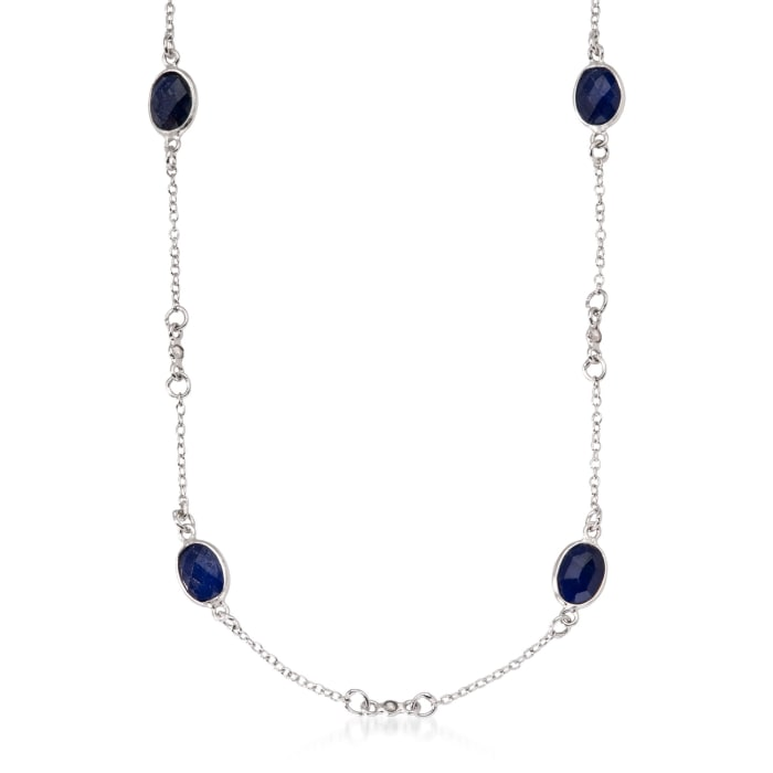 7.20 ct. t.w. Sapphire and .25 ct. t.w. Diamond Station Necklace in Sterling Silver